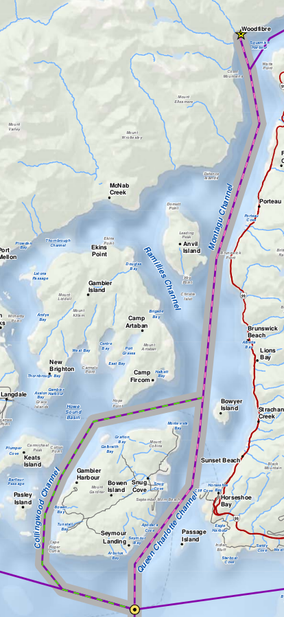 Map showing proposed LNG tanker route