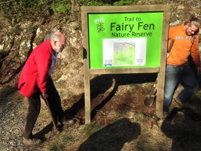 Fairy Fen--Installing our new sign in March 2015