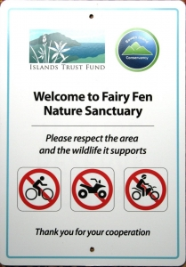 Fairy Fen--Signs provided by the Islands Trust Fund