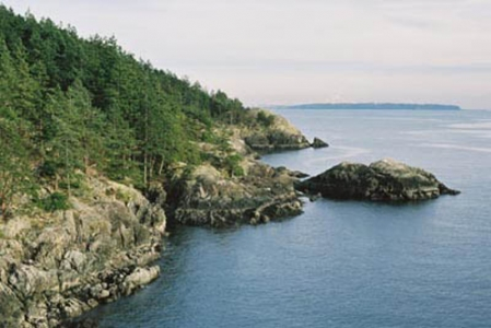 The rugged coastline of the southwest tip of Bowen Island at Cape Roger Curtis