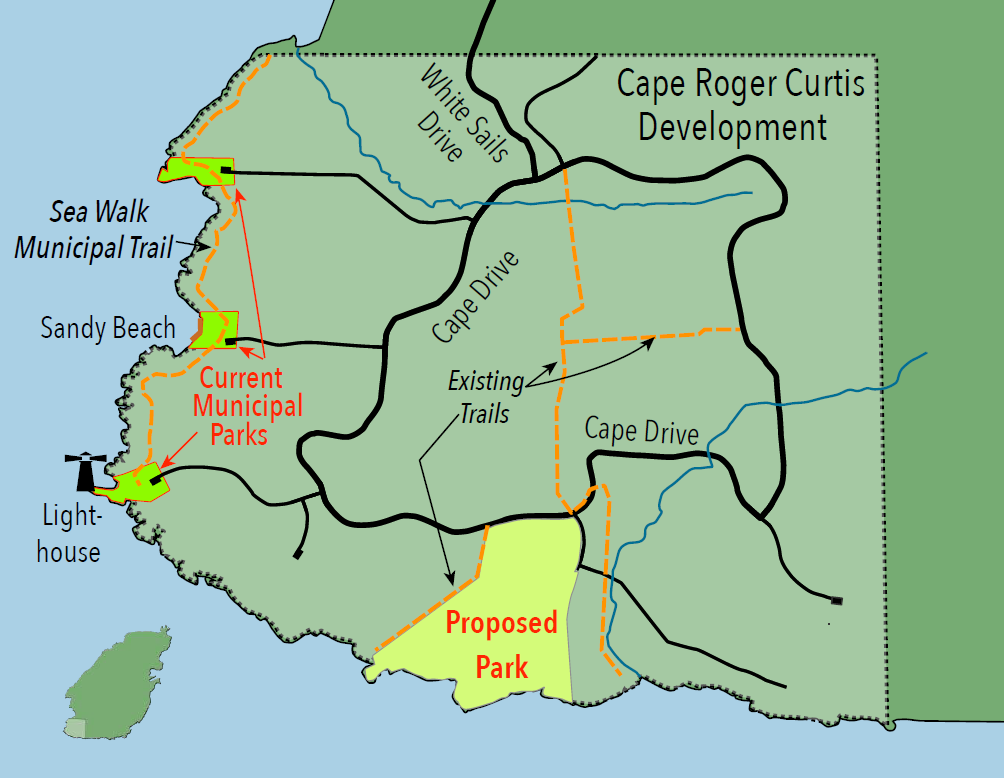 Map showing the proposed park at Cape Roger Curtis