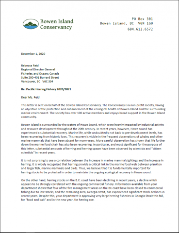 Thumbnail image of letter to DFO concerning herring fishery