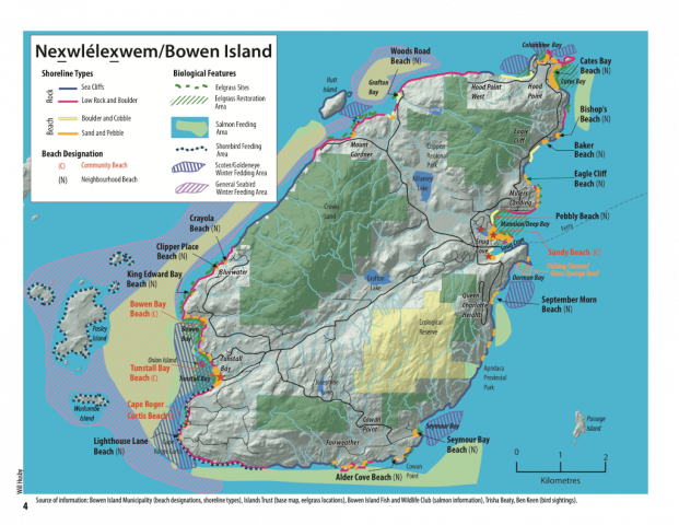 Scaled Marine Atlas map of Bowen Island